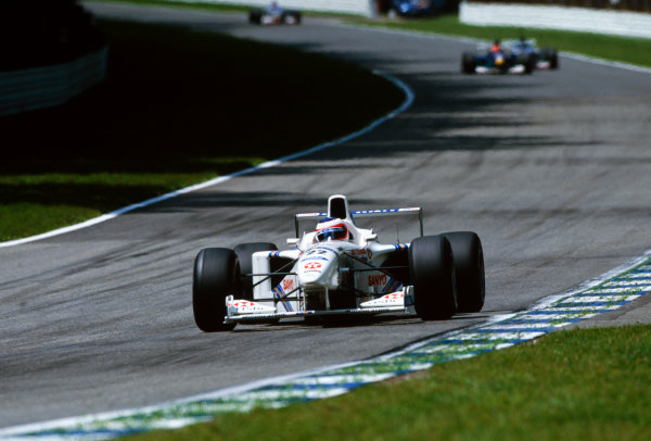 Hockenheim, Germany.25-27 July 1997.Rubens Barrichello (Stewart SF1 Ford), retired, action. World Copyright: LAT Photographic.Ref: Colour Transparency.