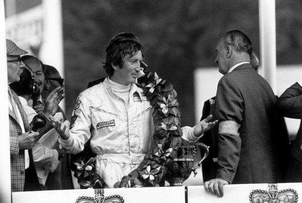Brands Hatch, England. 16th - 18th July 1970.Jochen Rindt (Lotus 72C-Ford), 1st position, podium, portrait. World Copyright: LAT Photographic.Ref:  L70 - 724 - 23/23A.