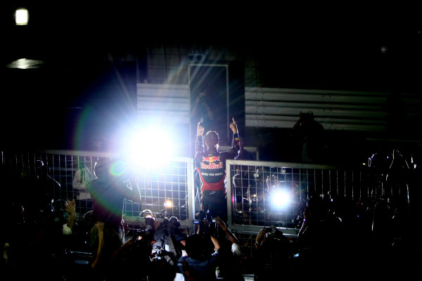 Suzuka Circuit, Suzuka, Japan.9th October 2011.Sebastian Vettel, Red Bull Racing RB7 Renault, 3rd position, celebrates his second world championship with his team. Portrait. Atmosphere. World Copyright: Andy Hone/LAT Photographicref: Digital Image CSP26105
