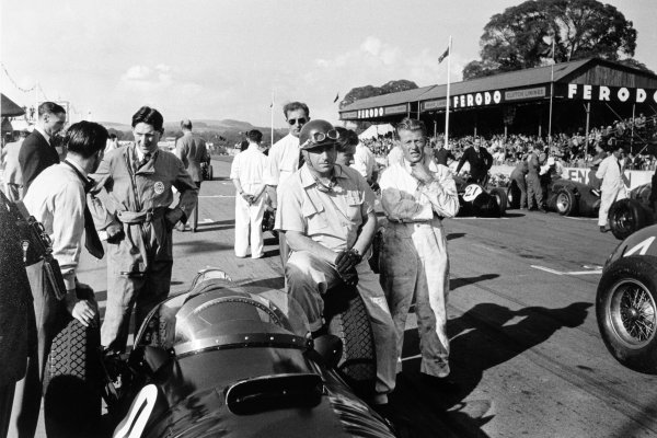 1953 Chichester Cup.Goodwood, West Sussex, Great Britain. 6 April 1953.Juan Manuel Fangio (BRM P15) on the grid before the start, portrait.World Copyright: LAT PhotographicRef: Autosport b&w print