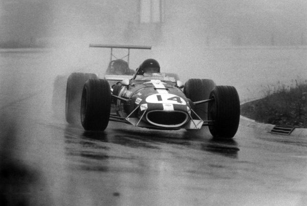 1968 German Grand Prix.Nurburgring, Germany. 4 August 1968.Dan Gurney, Eagle AAR104-Weslake, 9th position, action in the wet.World Copyright: LAT PhotographicRef: Autocar b&w print