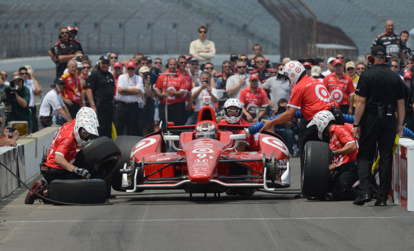 25 May, 2012, Indianapolis, Indiana USA Scott Dixon #9 Target Chip Ganassi Racing during pitstop competition (c)2012 Dan R. Boyd LAT Photo USA