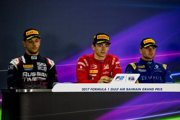2017 FIA Formula 2 Round 1. Bahrain International Circuit, Sakhir, Bahrain.  Sunday 16 April 2017. Luca Ghiotto (ITA, RUSSIAN TIME), Charles Leclerc (MCO, PREMA Racing), Oliver Rowland (GBR, DAMS)  Photo: Zak Mauger/FIA Formula 2. ref: Digital Image _X0W5165
