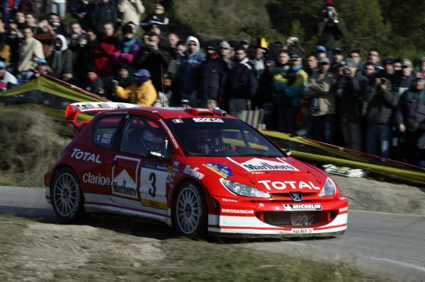 2003 FIA World Rally Champs. Round 13 Catalunya Rally 23rd-26th October 2003.Gilles Panizzi, Peugeot, action.World Copyright: McKlein/LAT