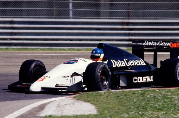1987 San Marino Grand Prix.Imola, Italy.1-3 May 1987.Philippe Streiff (Tyrrell DG016 Ford) 8th position.Ref-87 SM 27.World Copyright - LAT Photographic