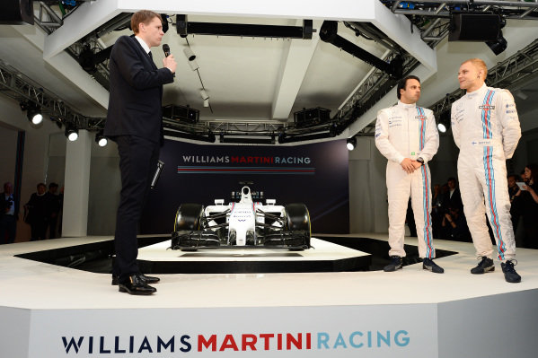 (L to R): Jake Humphrey (GBR) interviews Felipe Massa (BRA) Williams and Valtteri Bottas (FIN) Williams with the Williams Martini Racing liviried Williams FW36. Williams Martini Racing 2014 Team Launch, London, England, Thursday 6 March 2014.