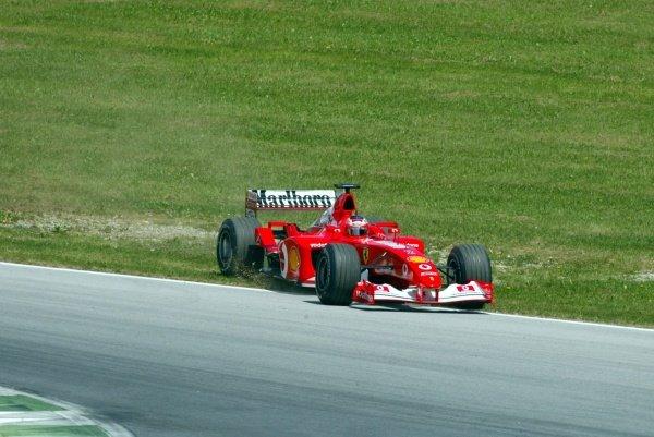 Pole sitter Rubens Barrichello (BRA) Ferrari F2002 had an off during the session. Austrian Grand Prix, A1-Ring, 11 May 2002. DIGITAL IMAGE