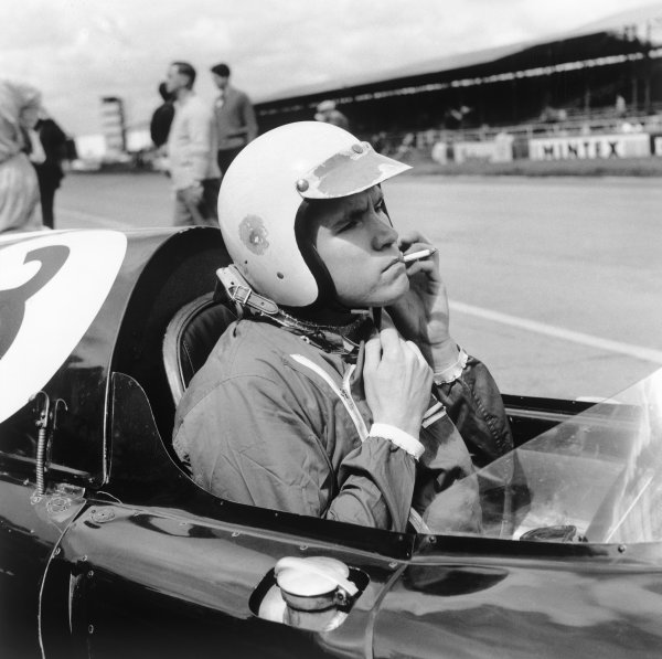 Silverstone, England. 16th July 1960.Chuck Daigh (Cooper T51-Climax), retired, portrait. World Copyright: LAT Photographic.Ref:  Autocar Glass Plate C59359.
