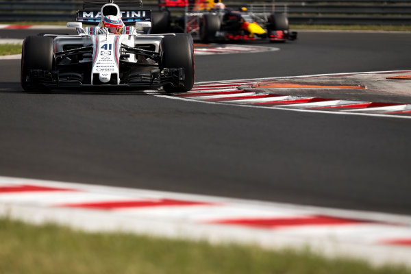 Hungaroring, Budapest, Hungary.  Wednesday 02 August 2017.Luca Ghiotto, Williams FW40 Mercedes, leads Pierre Gasly, Red Bull Racing RB13 TAG Heuer. World Copyright: Joe Portlock/LAT Images  ref: Digital Image _L5R2092