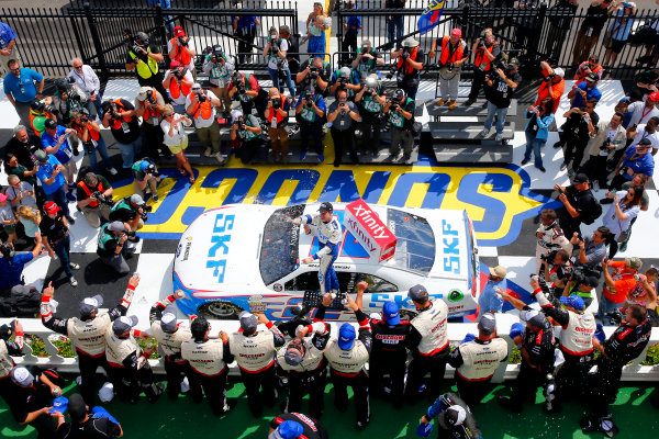 NASCAR XFINITY Series Pocono Green 250 Pocono Raceway, Long Pond, PA USA Saturday 10 June 2017 Brad Keselowski, SKF Ford Mustang celebrates in victory lane after winning World Copyright: Russell LaBounty LAT Images ref: Digital Image 17POC1rl_03926