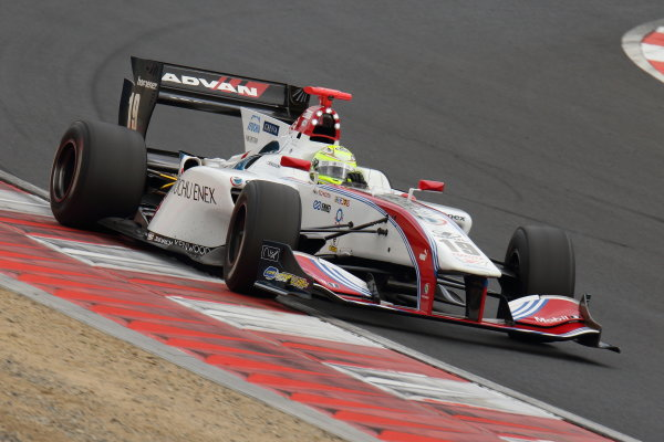 2017 Japanese Super Formula. Okayama, Japan. 27th - 28th May 2017. Rd 2. Race 1 2nd position Yuhi Sekiguchi ( #19 ITOCHU ENEX TEAM IMPUL SF14 ) action World Copyright: Yasushi Ishihara / LAT Images. Ref: 2017SF_Rd2_Race1_009