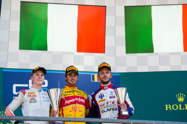 2016 GP2 Series Round 8 Spa-Fracorchamps, Spa, Belgium. Sunday 28 August 2016. Antonio Giovinazzi (ITA, PREMA Racing), Gustav Malja (SWE, Rapax) & Luca Ghiotto (ITA, Trident)  Photo: Sam Bloxham/GP2 Series Media Service. ref: Digital Image _SBB6191