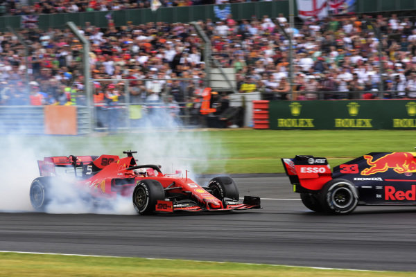 Sebastian Vettel, Ferrari SF90 running into the back of Max Verstappen, Red Bull Racing RB15