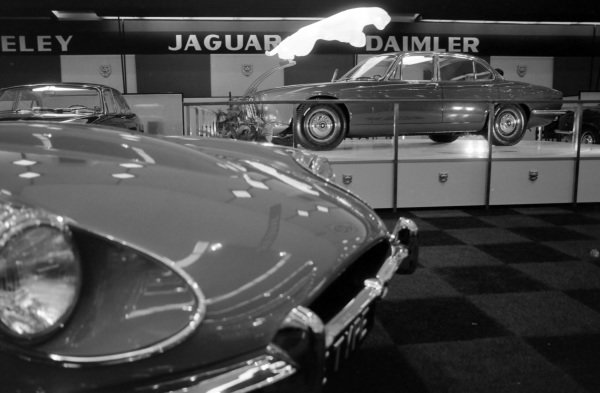 The Jaguar stand: E type in the foreground and an XJ6 on the stand behind.