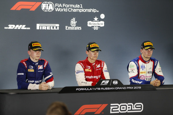 SOCHI AUTODROM, RUSSIAN FEDERATION - SEPTEMBER 28: Champion Robert Shwartzman (RUS) PREMA Racing in the press conference with Marcus Armstrong (NZL) PREMA Racing and Niko Kari (FIN) Trident during the Sochi at Sochi Autodrom on September 28, 2019 in Sochi Autodrom, Russian Federation. (Photo by Joe Portlock / LAT Images / FIA F3 Championship)