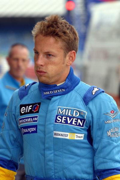 2002 Formula One TestingSilverstone, England. 17th September 2002.Jenson Button, Renault R202, portrait.World Copyright: Malcolm Griffiths/LAT Photographicref: Digital Image Only