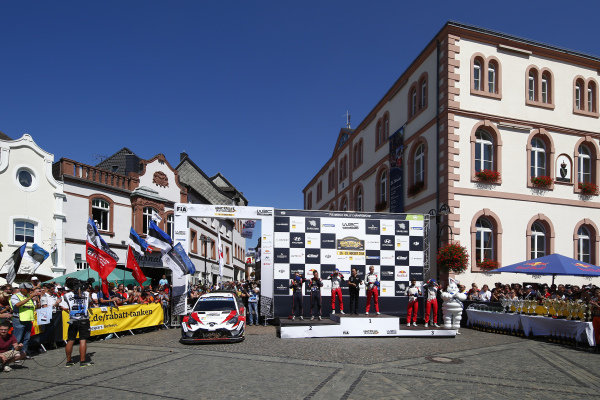 The podium ceremony for Rallye Deutschland was a held in the town centre of St Wendel