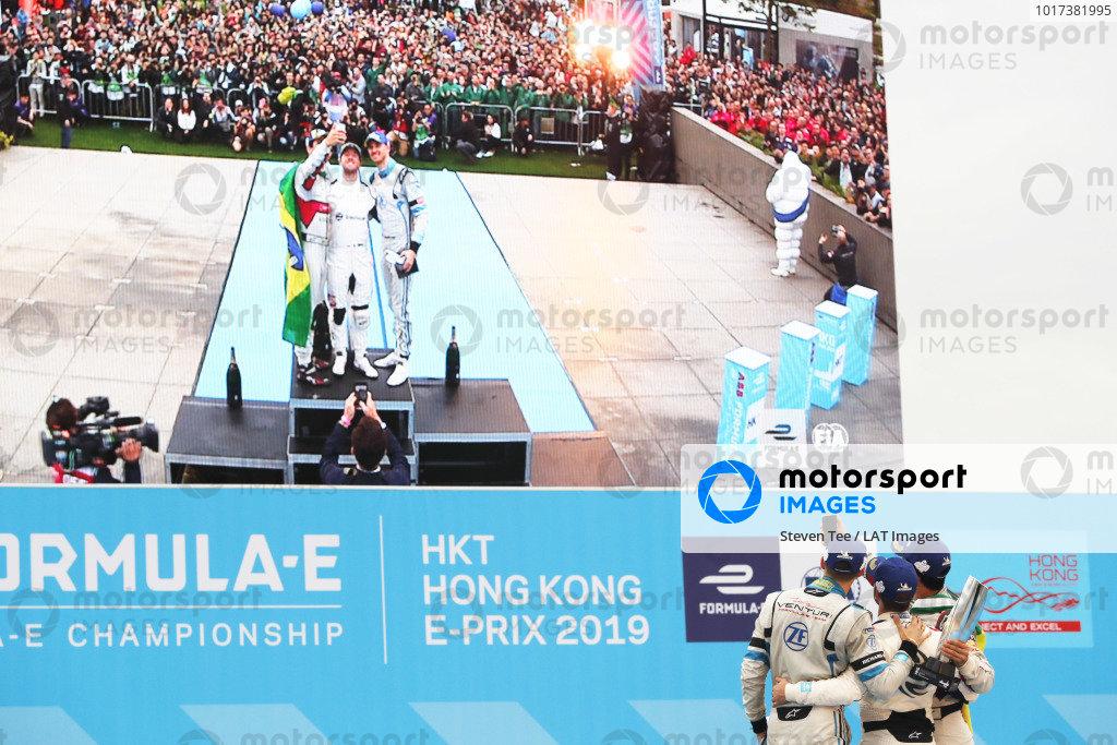 Sam Bird (GBR), Envision Virgin Racing, Lucas Di Grassi (BRA), Audi Sport ABT Schaeffler, and Edoardo Mortara (CHE) Venturi Formula E, celebrate on the podium