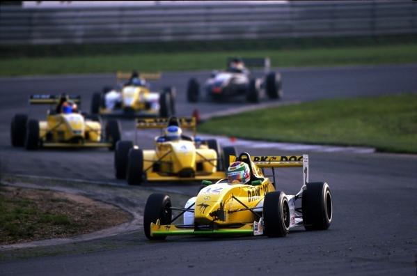 Christopher Bruck (GER) leads the field.German Formula Renault Championship, 14 October 2001, Oschersleben, Germany.BEST IMAGE