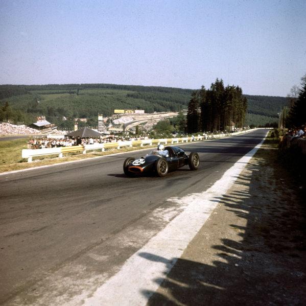 1958 Belgian Grand Prix.Spa-Francorchamps, Belgium.13-15 June 1958.Jack Brabham (Cooper T45 Climax) at La Source.Ref-3/0049.World Copyright - LAT Photographic