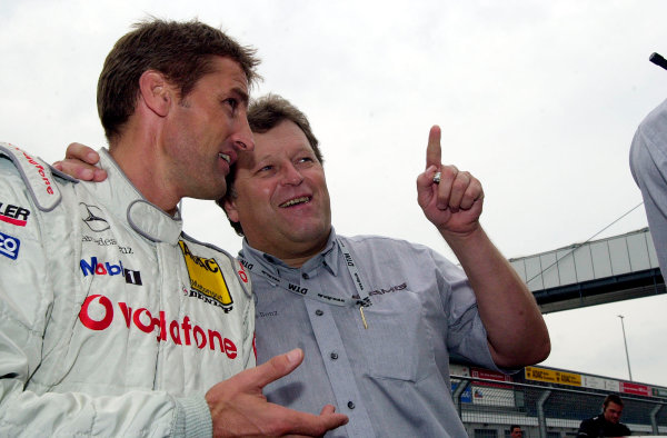 2002 DTM Championship Lausitzring, Germany. 12th - 14th July 2002. Race winner Bernd Schneider (AMG Mercedes CLK) talks with Norber Haug, portrait.World Copyright: Andre Irlmeier/LAT Photographic ref: Digital Image Only