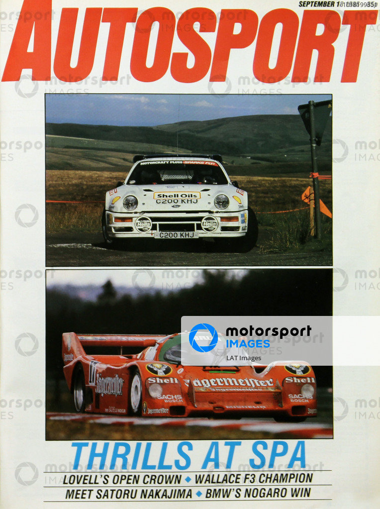 Cover of Autosport magazine, 18th September 1986