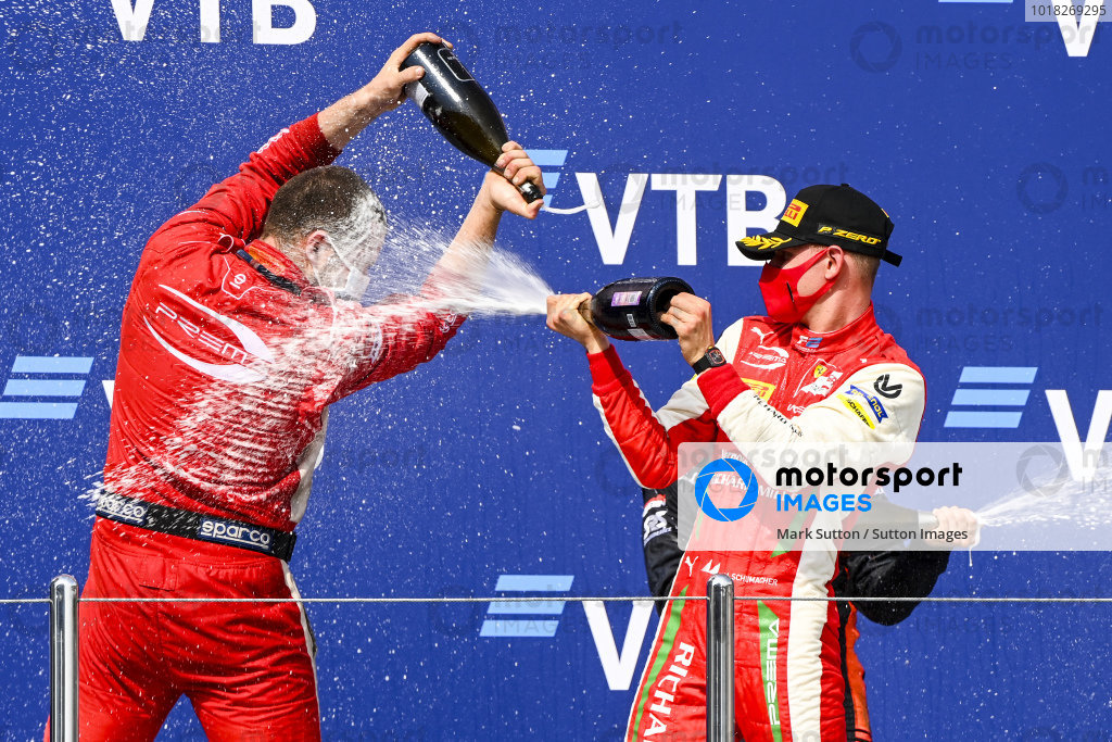 Winning Constructor Representative and Race Winner Mick Schumacher (DEU, PREMA RACING) celebrates on the podium with the chamapgne