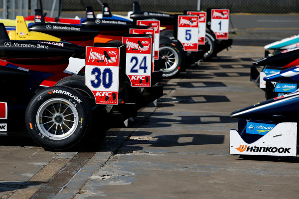 FIA F3 European Championship - Round 1, Race 3. Silverstone, Northamptonshire, UK 10th - 12th April 2015 Parc ferme, 30 Callum Ilott (GBR, Carlin, Dallara F312 – Volkswagen), 24 Brandon Maisano (FRA, Prema Powerteam, Dallara F312 – Mercedes-Benz). Copyright Free FOR EDITORIAL USE ONLY. Mandatory Credit: FIA F3. ref: Digital Image FIAF3-1428842397