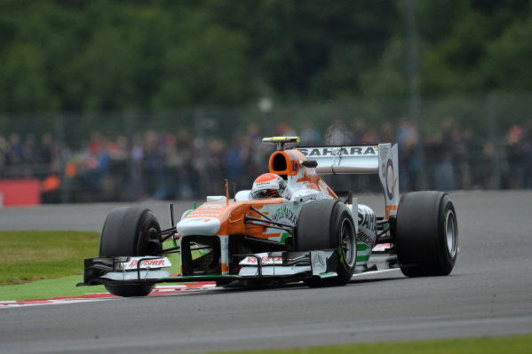Adrian Sutil (GER) Force India VJM06. Formula One World Championship, Rd8, British Grand Prix, Practice, Silverstone, England, Friday 28 June 2013.