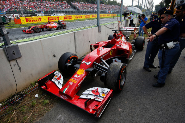 Autodromo Nazionale di Monza, Monza, Italy. Sunday 7 September 2014. The retired car of Fernando Alonso, Ferrari F14T. World Copyright: Charles Coates/LAT Photographic. ref: Digital Image _N7T1039