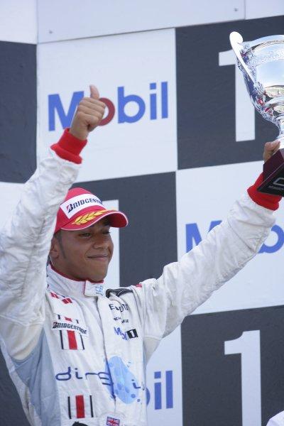 2006 GP2 Series Round 8. Hockenheim, Germany. 30th July 2006. Sunday race. Lewis Hamilton (GBR, ART Grand Prix) 3rd. Podium.World Copyright: Lorenzo Bellanca/GP2 Series Media Service. Ref: Digital Image Only.ZD2J1465 jpg