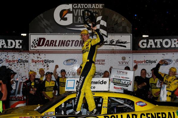 11 May, 2012, Darlington, South Carolina USAJoey Logano celebrates in victory lane(c)2012, Lesley Ann MillerLAT Photo USA
