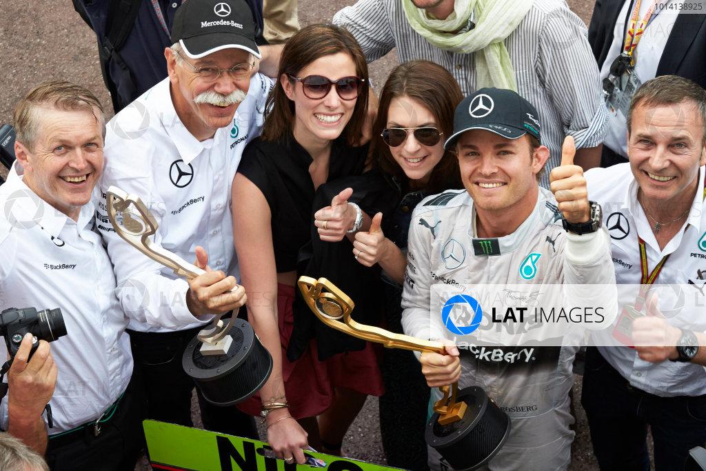 Monte Carlo, Monaco. Sunday 25 May 2014. Nico Rosberg, Mercedes AMG, 1st Position, celebrates victory. World Copyright: Steve Etherington/LAT Photographic. ref: Digital Image SNE12372 copy
