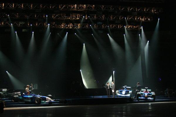 Former Sauber drivers were present at the launch of the new Sauber C22 (L to R): Kimi Raikkonen (FIN) McLaren; Karl Wendlinger (AUT); Felipe Massa (BRA) Ferrari Test Driver; Jean Alesi (FRA).Sauber Petronas C22 Launch, Swissotel, Hinwil, Switzerland, 9 February 2003.DIGITAL IMAGE