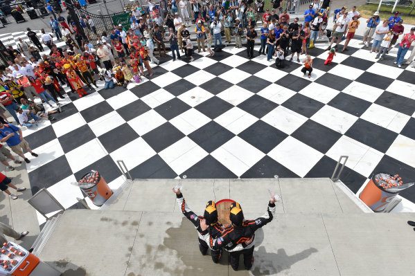 26-28 June, 2014, Watkins Glen, New York USA 75, Honda, Civic Si, ST, Kyle Gimple, Ryan Eversley, celebrate the win on the podium  ?2014 Scott R LePage LAT Photo USA