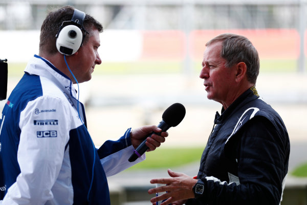 Williams 40 Event Silverstone, Northants, UK Friday 2 June 2017. David Croft interviews Martin Brundle. World Copyright: Sam Bloxham/LAT Images ref: Digital Image _J6I6407