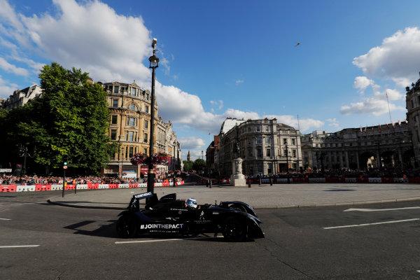 London, United Kingdom.  Wednesday 12 July 2017. Mika Hakkinen takes somebody for a ride around the circuit. World Copyright: Zak Mauger/LAT Images  ref: Digital Image _56I5902