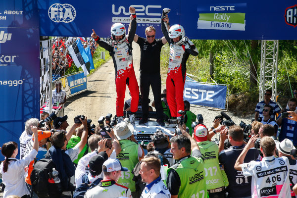 2017 FIA World Rally Championship, Round 09, Rally Finland / July 27 - 30, 2017, Esapekka Lappi, Janne Ferm, Tommy Makinen, Toyota WRC, Podium  Worldwide Copyright: McKlein/LAT