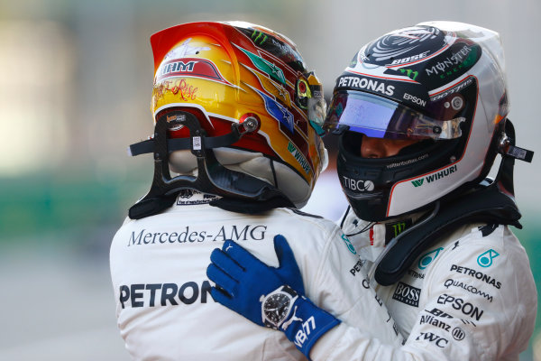 Baku City Circuit, Baku, Azerbaijan. Saturday 24 June 2017. Valtteri Bottas, Mercedes AMG, congratulates Lewis Hamilton, Mercedes AMG, on Pole in Parc Ferme. World Copyright: Steven Tee/LAT Images ref: Digital Image _O3I2355