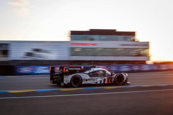 2016 Le Mans 24 Hours. Circuit de la Sarthe, Le Mans, France. Porsche Team / Porsche 919 Hybrid - Timo Bernhard (DEU), Mark Webber (AUS), Brendon Hartley (NZL).   Saturday 18 June 2016 Photo: Adam Warner / LAT ref: Digital Image _L5R5434