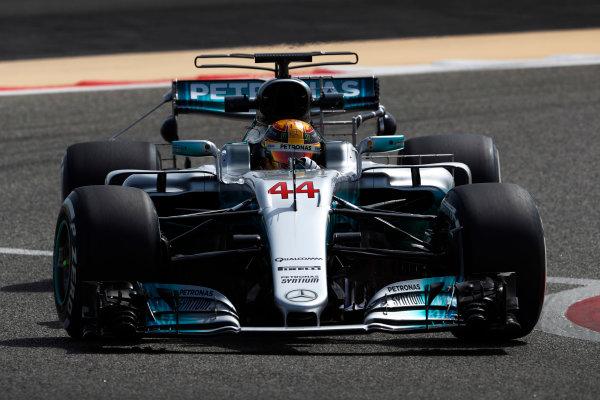 Bahrain International Circuit, Sakhir, Bahrain.  Tuesday 18 April 2017. Lewis Hamilton, Mercedes F1 W08 EQ Power+. World Copyright: Glenn Dunbar/LAT Images ref: Digital Image _X4I2056