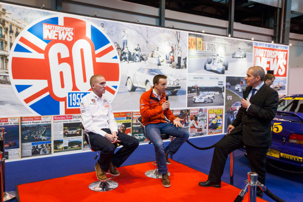 Autosport International Exhibition. National Exhibition Centre, Birmingham, UK. Friday 9 January 2015. Kris Meeke and Paul Nagle on the Motorsport News stand. World Copyright: Zak Mauger/LAT Photographic. ref: Digital Image _P7T0272