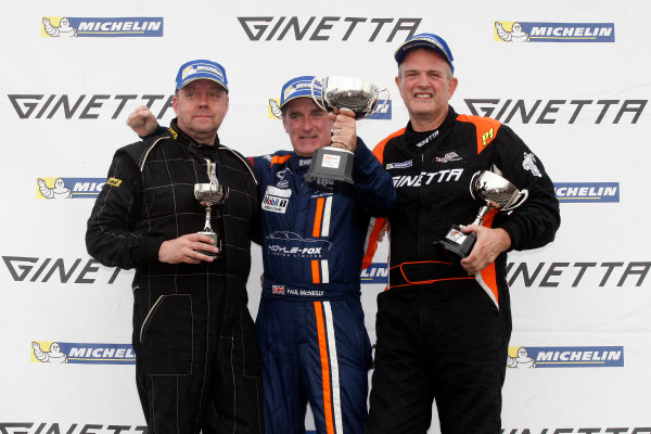 2014 Ginetta GT4 Supercup, Silverstone, England. 27th-28th September 2014. Amateur Podium (L-R) Fraser Robertson (GBR), Paul McNeilly (GBR) Fox Motorsport, David Pattison (GBR) Tolman Motorsport. World Copyright: Ebrey / LAT Photographic.