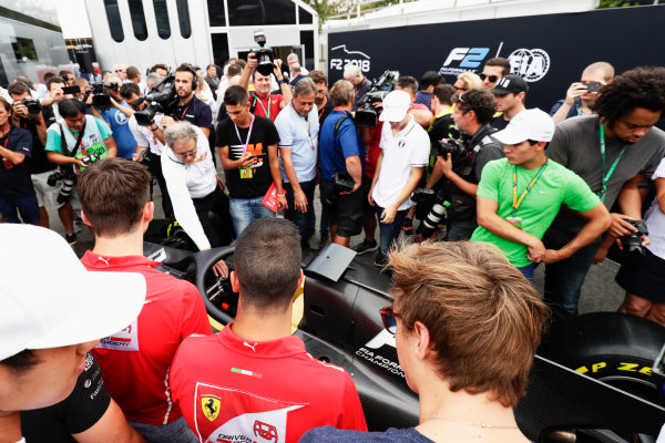 Autodromo Nazionale di Monza, Italy. Thursday 31 August 2017 The new 2018 F2 car is unveiled in the paddock. Photo: Zak Mauger/FIA Formula 2 ref: Digital Image _56I5257