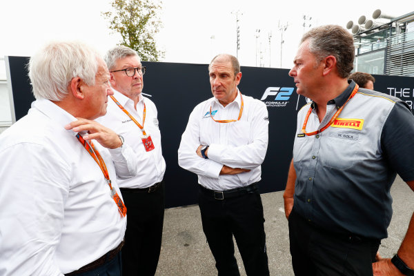Autodromo Nazionale di Monza, Italy. Thursday 31 August 2017 Charlie Whiting, Ross Brawn, Bruno Michel and Mario Isola at the unveiling of the new 2018 F2 car. Photo: Sam Bloxham/FIA Formula 2 ref: Digital Image _W6I2039