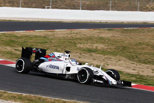 Circuit de Catalunya, Barcelona, Spain Monday 22 February 2016. Valtteri Bottas, Williams FW38 Mercedes. World Copyright: Alastair Staley/LAT Photographic ref: Digital Image _79P9400