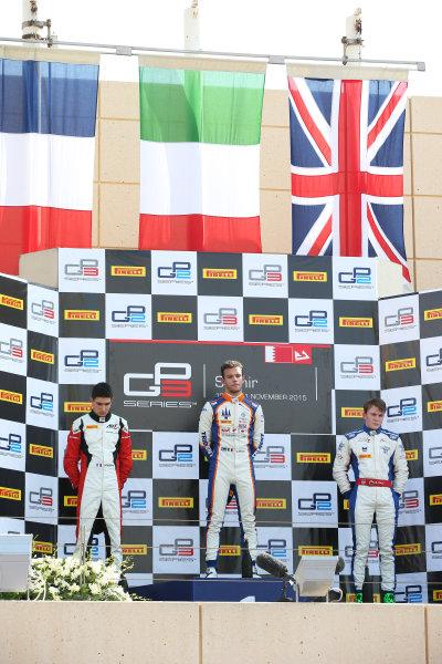 2015 GP3 Series Round 8. Bahrain International Circuit, Bahrain Saturday 21 November 2015. Luca Ghiotto (ITA, Trident), Esteban Ocon (FRA, ART Grand Prix) & Matthew Parry (GBR, Koiranen GP)  Photo: Jakob Ebrey/GP3 Series Media Service. ref: Digital Image AD8T0009