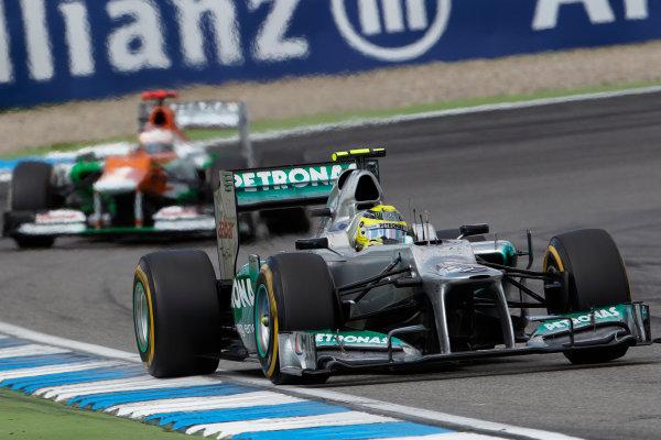 Hockenheimring, Hockenheim, Germany 22nd July 2012 Nico Rosberg, Mercedes F1 W03 leads Paul di Resta, Force India VJM05 Mercedes.  World Copyright: Steve Etherington/LAT Photographic ref: Digital Image HC5C5733 1 copy