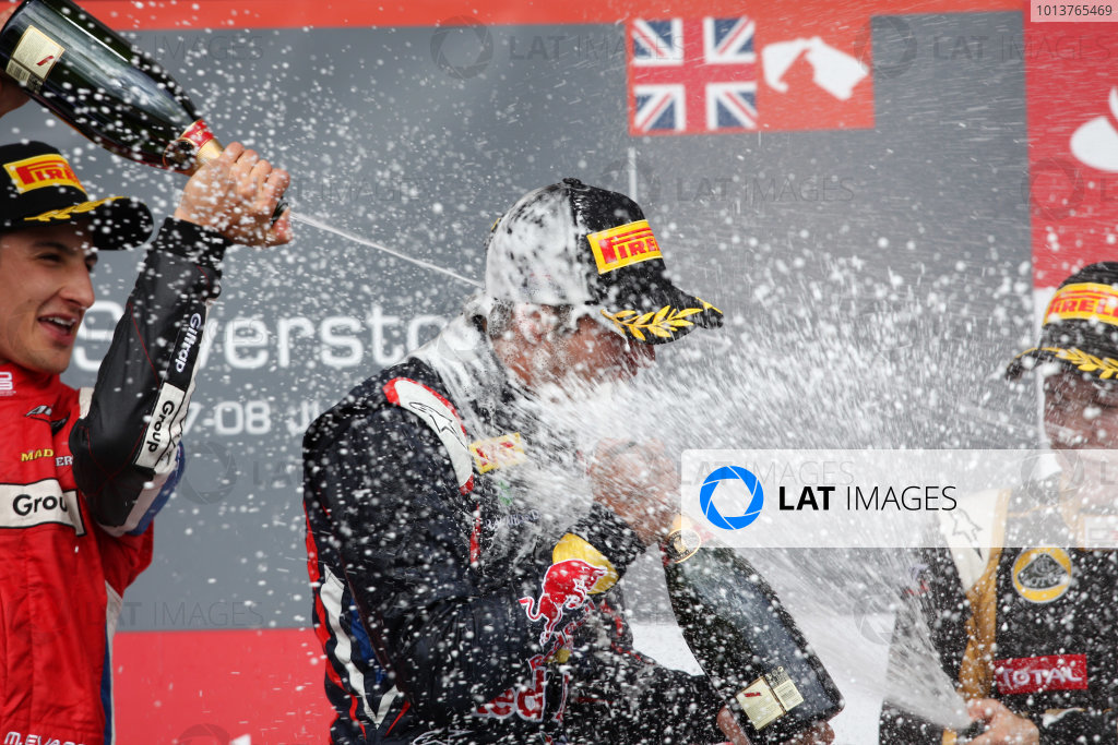 Silverstone, Northamptonshire, England. 7th July 2012. Saturday Race 1. (LtoR) 2nd place Mitch Evans (NZL, MW Arden) 1st place Antonio Felix Da Costa (POR, Carlin) celebrates on the podium. Portrait. World Copyright:  Daniel Kalisz/LAT Photographic Ref: Digital Image IMG_5824.jpg