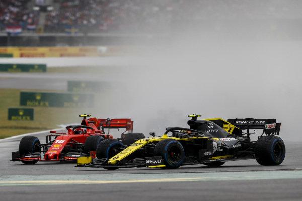 Nico Hulkenberg, Renault R.S. 19 and Charles Leclerc, Ferrari SF90 battle